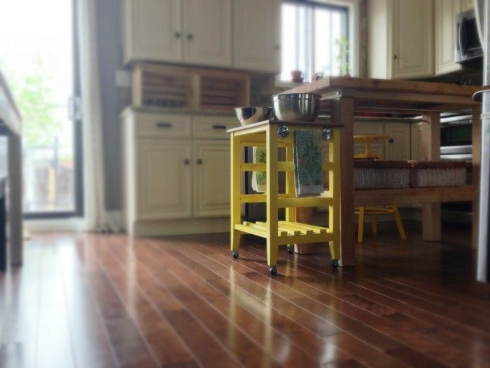 k chen ideen gelber beistelltisch rollen k che m bel. Black Bedroom Furniture Sets. Home Design Ideas