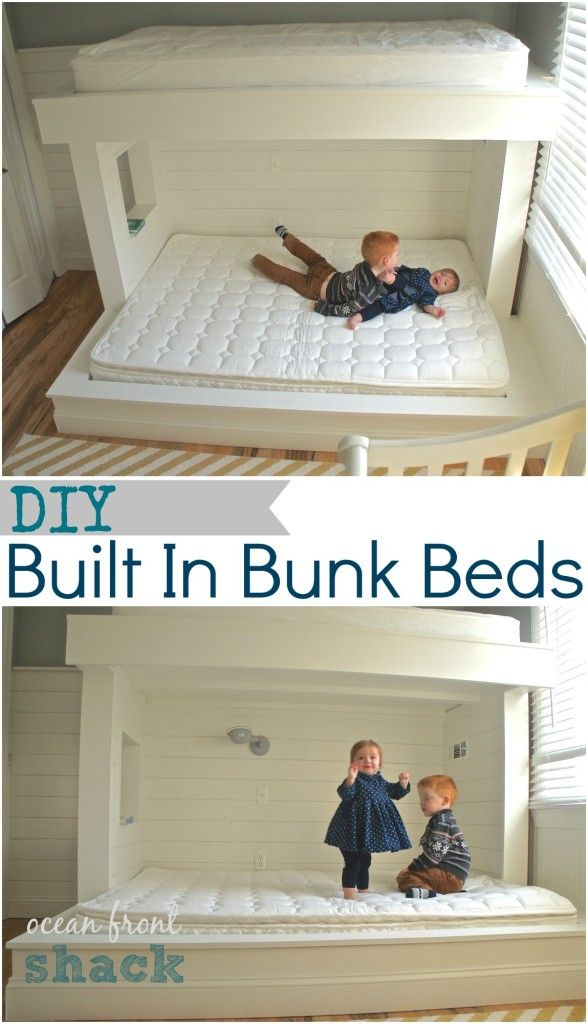 Beautiful DIY wood planked built in bunk beds painted in Benjamin Moore White Dove, lots of great step by step photos of construction on blog