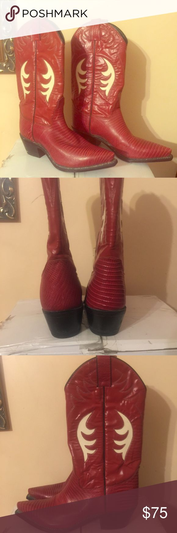 ↕️REDUCEDJustin Diamond J women's snakeskin boots Beautiful red all leather tall cowgirl boots. Pointy toe, size 7B. Great condition Justin Boots Shoes Heeled Boots