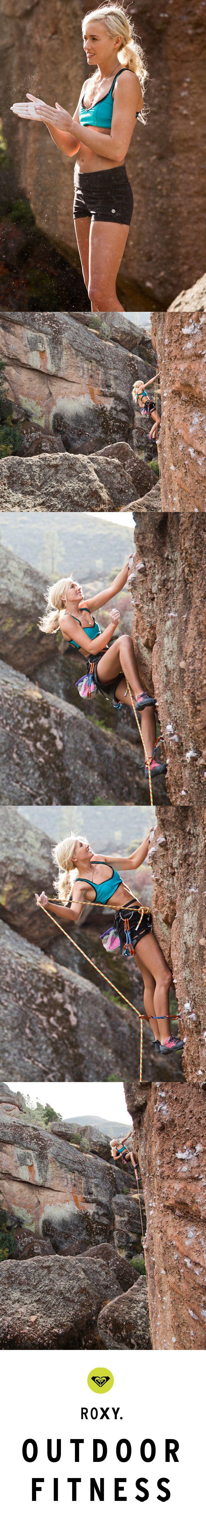 Sierra climbing a technical face in #ROXYOutdoorFitness Sporty Top Sports Bra & Spike Shorts