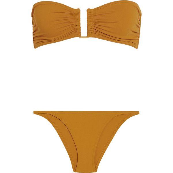 Eres Les Essentiels Show bandeau bikini top (€175) ❤ liked on Polyvore featuring swimwear, bikinis, bikini tops, eres bikini, brazilian bottom bikini, bandeau top, brazilian cut swimwear and brazilian cut bikini