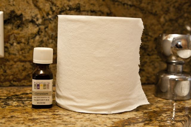 Quickest Bathroom Freshener Ever. Just take your TP, and your favorite essential oil (I like geranium or lavender for the bathroom- but any will do).  Put two drops of your essential oil inside the cardboard roll of your TP, and voila- instant air freshener every time someone uses the roll!