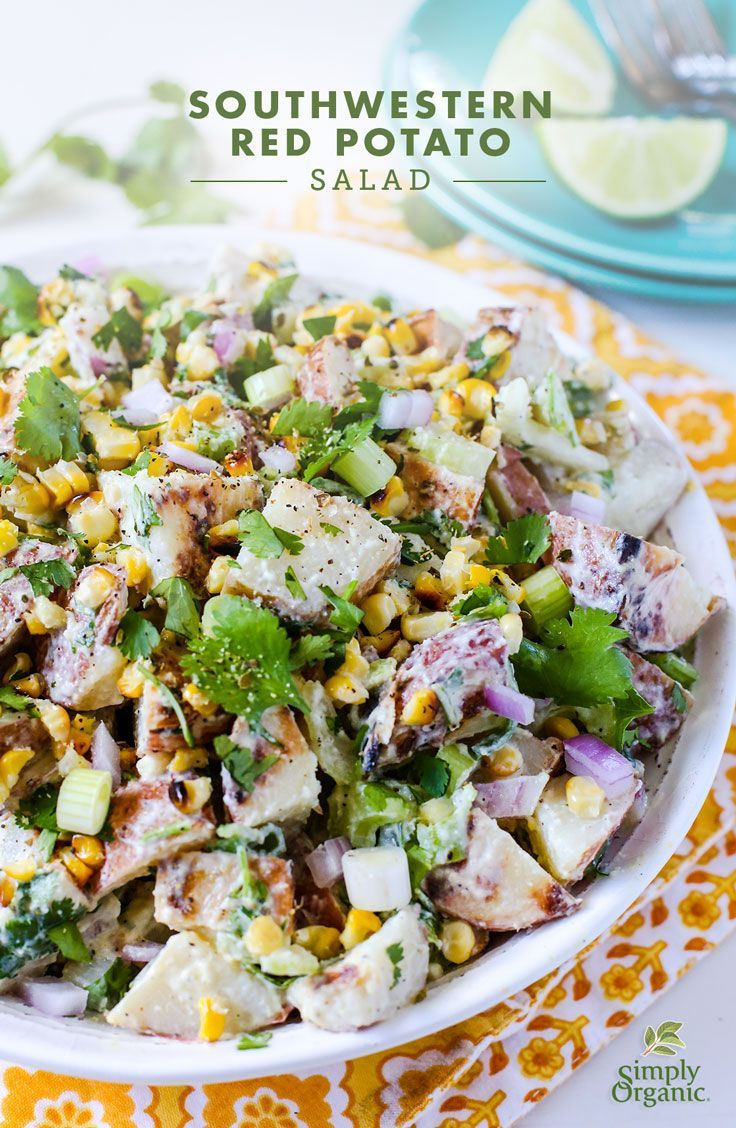 This easy potato salad is an upgrade to the typical cookout fare with adobo-infused dressing and red potatoes. Try it out! | via Simply Organic:
