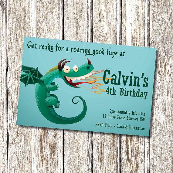 Dragon Birthday Party Invitation Printable and by deedubdesigns
