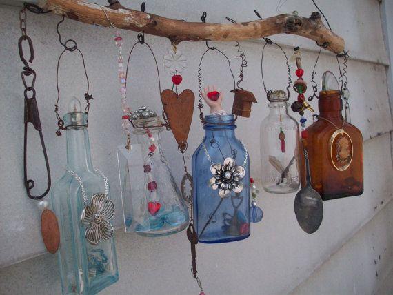 Bottle Chime/Vintage Bottles Embellished with by creationdesigns