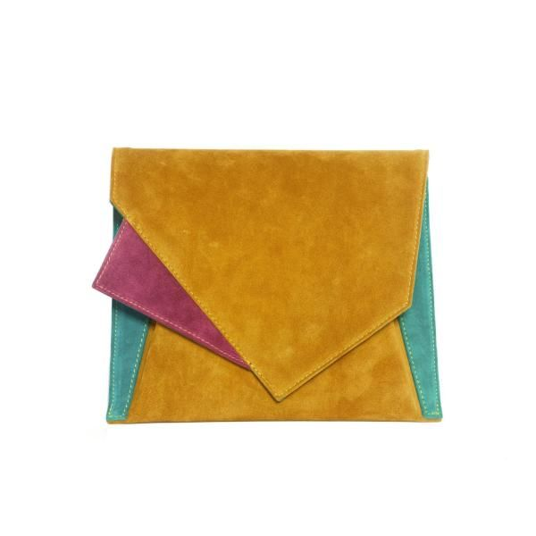 Ochre Suede Geometric Shoulder Bag by Georgina