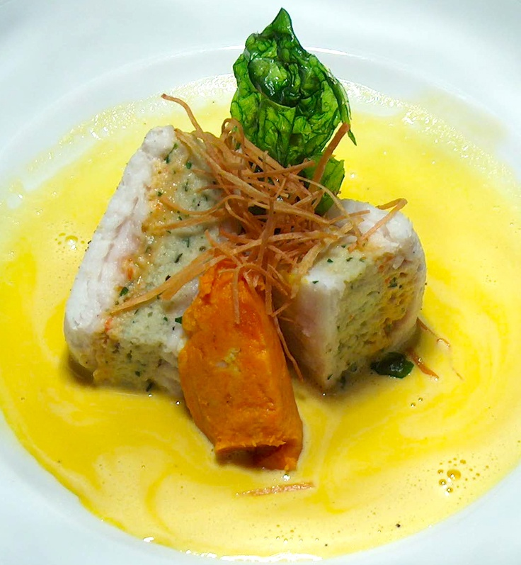 Food Plating Idea. Grouper stuffed with a vegetable Mousseline and a Saffron Sauce