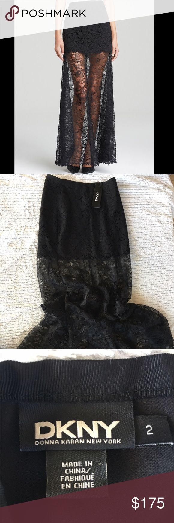 NWT DKNY Black Lace Maxi Skirt NWT! DKNY Black Lace Maxi Skirt. Only worn to try on and fits like a glove! DKNY Skirts Maxi
