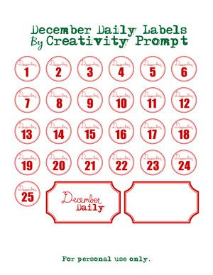 December Daily Labels and other good freebies