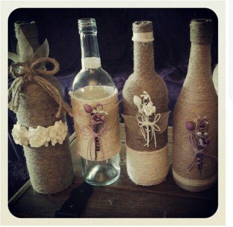 Upcycled wine bottles I made at home. All sold! Xxx