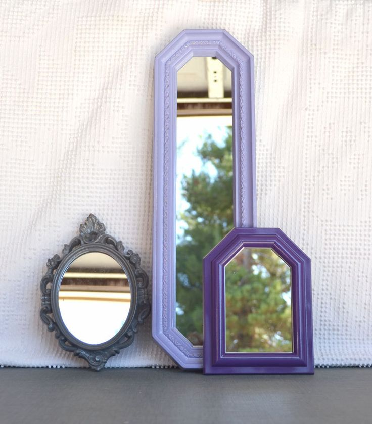 Lilac Purple Grey Upcycled Ornate Mirror Collection Modern Mirror set of 3 Gray Purples Nursery Elegant Bedroom decor. $41.00, via Etsy.