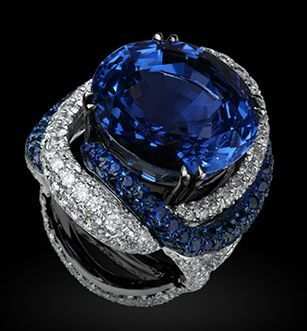 """""""Bejewelled Nile"""" - Sapphire and diamond ring by Michelle Ong for Carnet"""