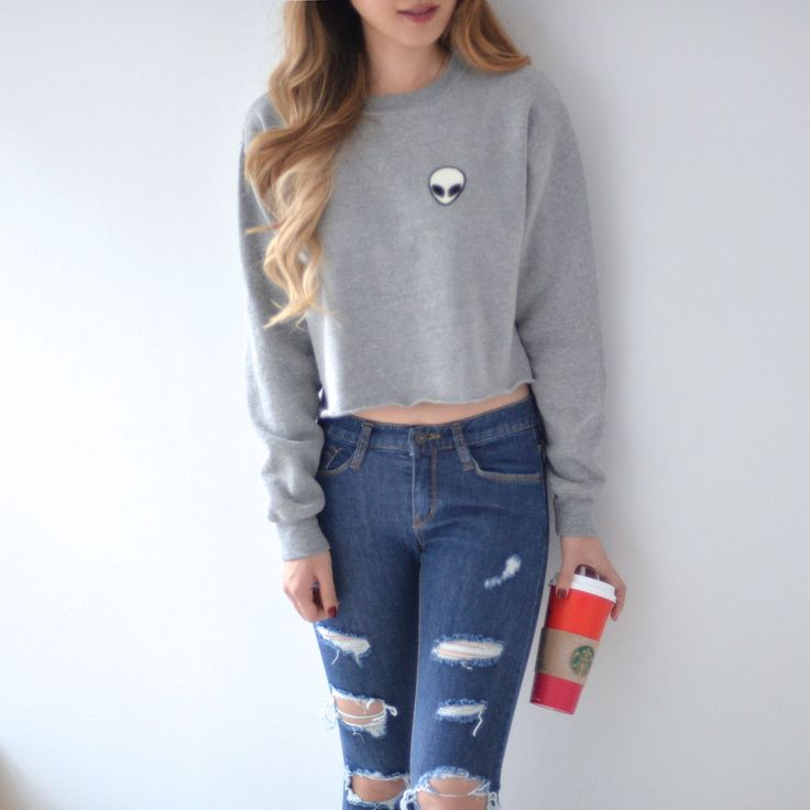 """Nancy Cropped Sweater with fuzzy inner lining Free Size Model is 5'7"""""""