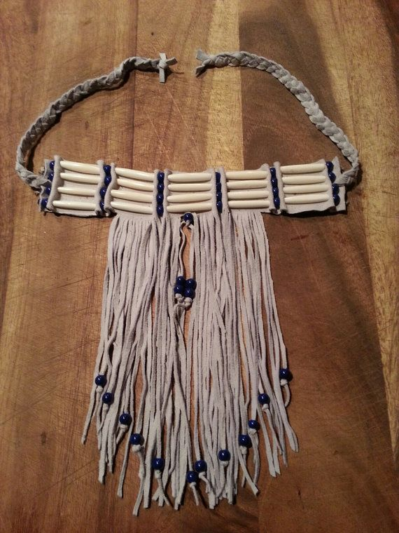 Native american leather fringed choker sale by for Native crafts for sale