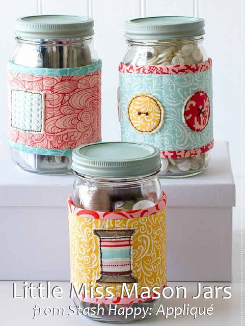 "FREE project: ""Little Miss Mason Jars"" (from the book, Stash Happy: Appliqué, from the site Stumbles & Stitches)"