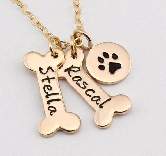Name Necklace Dog Paw Necklace Pet Jewelry by ACharmedImpression