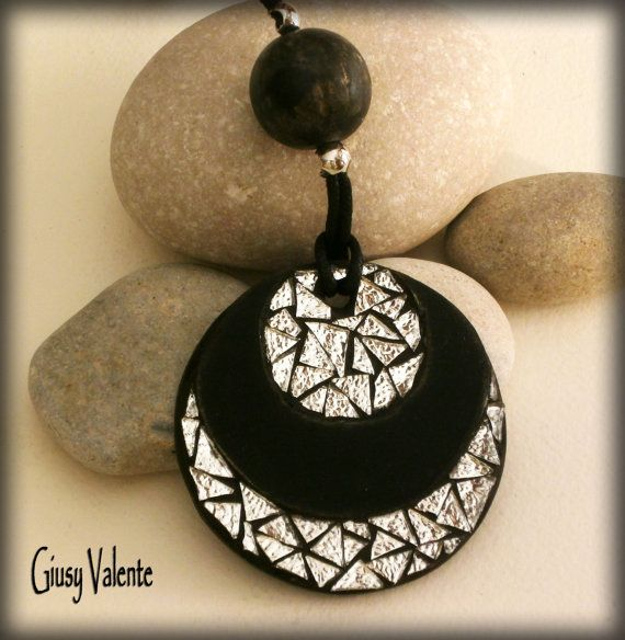 Mosaic to wear  Double Silver Pendant by GiusyValente on Etsy