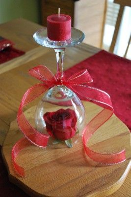 Wine glass candle holder