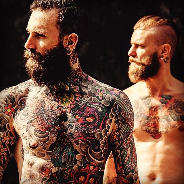 A pair of great-looking full beards !! thick bushy mustache mustaches bearding beard bearded man men shirtless tattoos tattooed chest full body art handsome #beardsforever