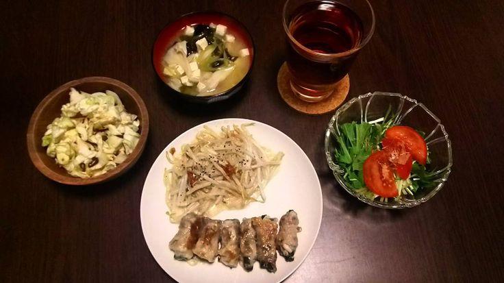肉巻き(オクラチーズ) 肉巻き(いんげんチーズ) 塩昆布キャベツ 味噌汁(豆腐ワカメネギ舞茸) 生野菜  彩りにかける  #food #foodpics #cooking #dinner #instafood #keto #lowcarb #yum #yummy #foodporn #homecooking #healthy #japanesefood #washoku #ダイエット #糖質制限  #おうちごはん #おうちカフェ #ごはん #晩ごはん #夕食 #暮らし #日々 #ひとりごはん #とりあえず野菜食 #ローカーボ #料理 #手料理 #肉巻き #茅ヶ崎 by nemoyan46