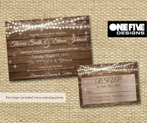 Rustic Wedding Invitation with Response Card by OneFiveDesigns Boho bohemian string lights outdoor summer fall