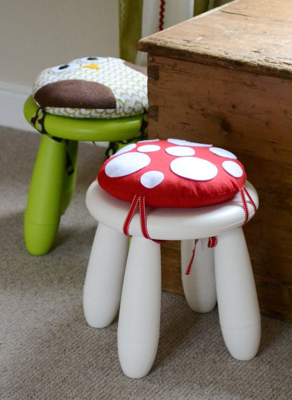 Childs toadstool stool cushion red white felt by handmadeandsewon