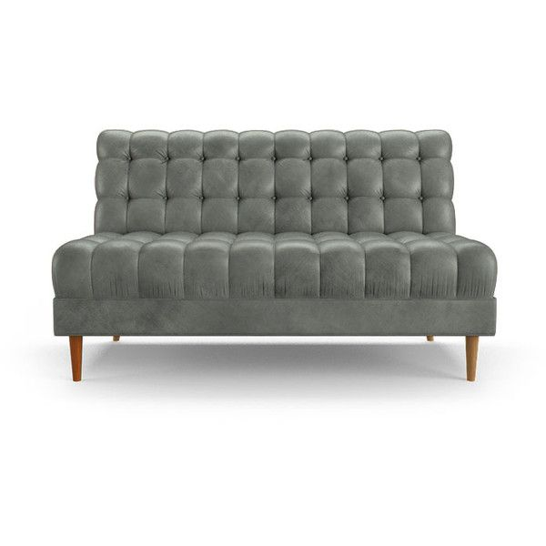 Sofa Slipcovers Fitzgerald Mid Century Modern Gray Leather Armless Loveseat liked on Polyvore featuring