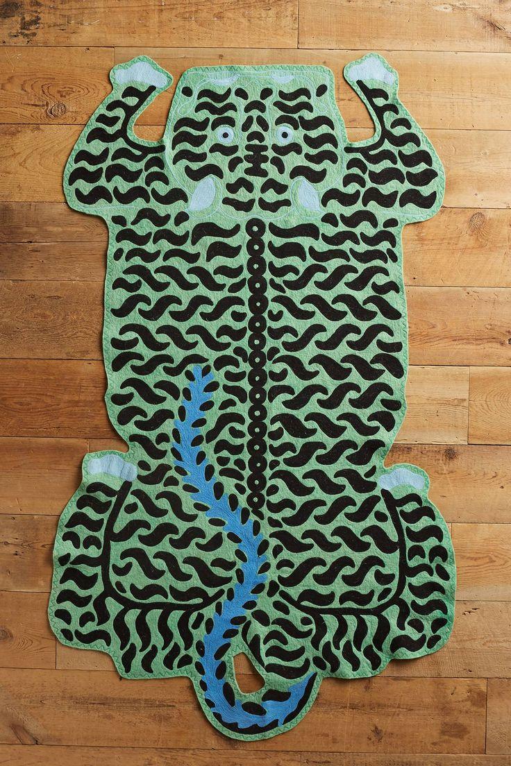 Slide View: 1: Embroidered Tiger Rug