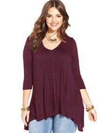 American Rag Plus Size Shirred Handkerchief-Hem Top http://www1.macys.com/shop/plus-size-clothing/trendy-plus-size-clothing