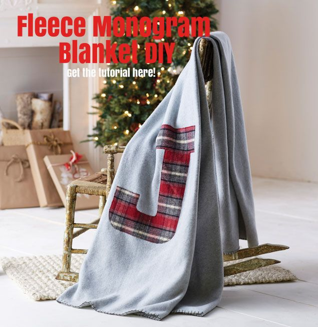 Give a DIY gift everyone will want to receive! This fleece monogram blanket is perfect for any age and can be personalized in anyway! Get this project and more holiday gift inspiration here!