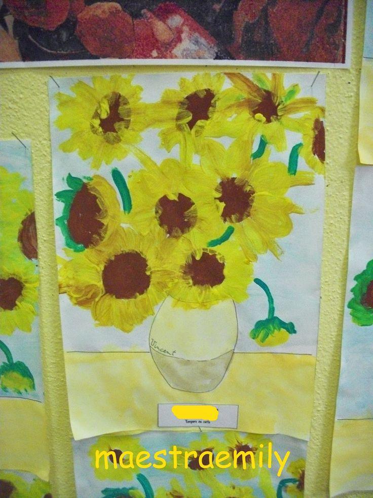 scuola dell'infanzia, bambini, sezioni, mostra, lavori, idee, classe, arte, girasoli, Van Gogh, colori