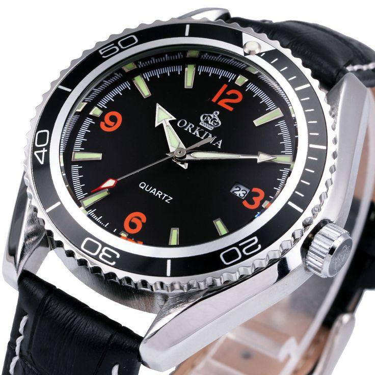 Luxe Merk Horloge ORKINA Mannen Quartz Horloges Lederen Band Zwart Vrouwen Horloge Sport Horloges Mannen Vrouwen in           van quartz horloges op AliExpress.com | Alibaba Groep