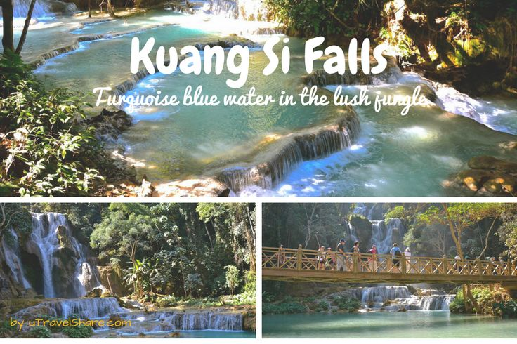 Kuang Si Falls: Turquoise blue water in the lush jungle