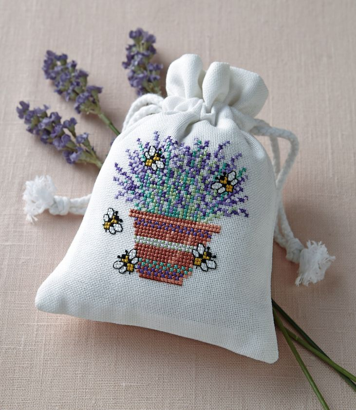 Lavender bag: One of the amazing gifts to stitch in our Christmas Collection! Flip your October 241 issue to find our festive deluxe section: www.crossstitchcollection.com/find-us