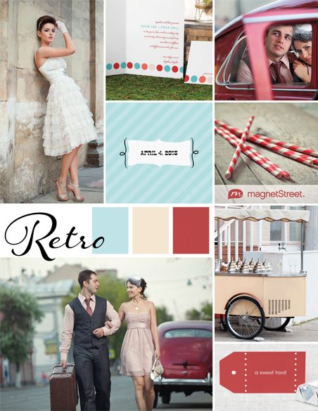 A turquoise and red color palette featuring wedding stationery, decor, and other ideas for your retro wedding theme.