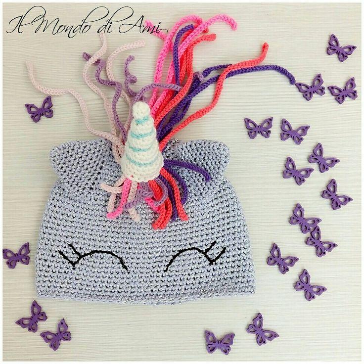 Unicorn addicted  berretto in cotone in versione lilla e lamè argento  #unicorno #unicorn #rainbow #arcobaleno #amigurumi #handmade #crochet #fattoamano #uncinetto #ganchillo #berretto #hat #cotton