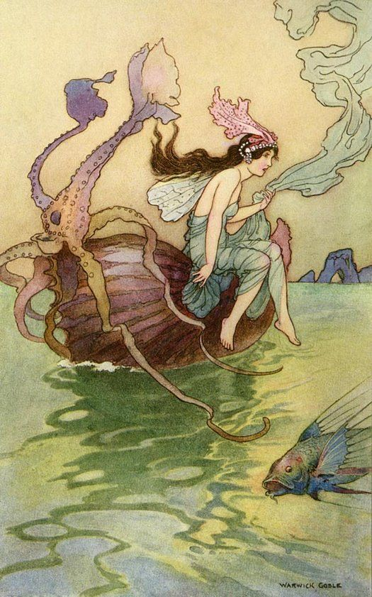 Art Poster Warwick Goble Fairy Riding Nautilus