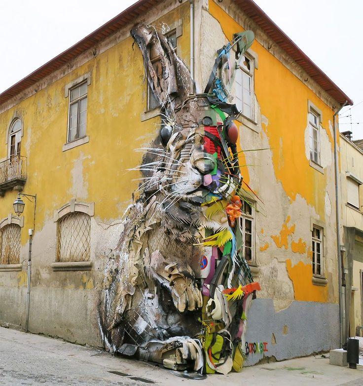 Portuguese Street Artist Unveiled A Giant Rabbit Made Of Trash On The Streets Of Vila Nova De Gaia In Portugal   – Street Art/Graffiti