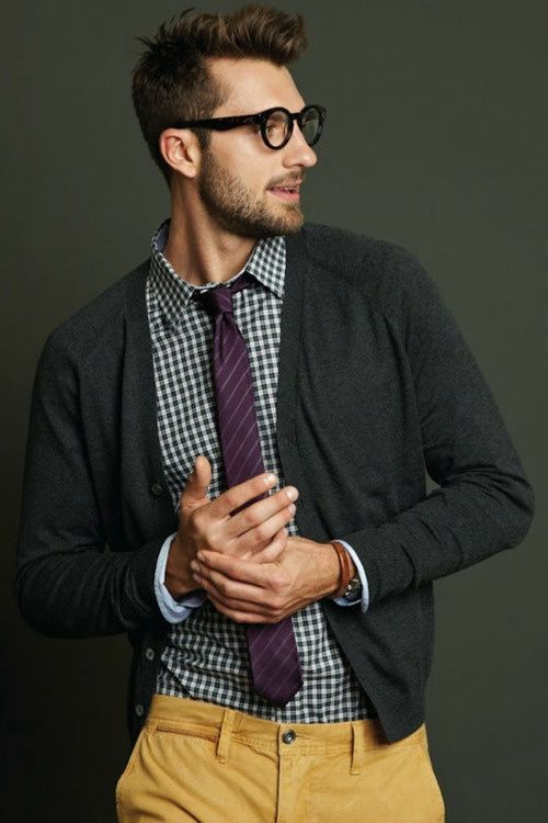 Shop this look for $111:  http://lookastic.com/men/looks/tobacco-chinos-and-charcoal-cardigan-and-purple-tie-and-white-and-navy-longsleeve-shirt/1306  — Tobacco Chinos  — Charcoal Cardigan  — Purple Horizontal Striped Tie  — White and Navy Gingham Longsleeve Shirt