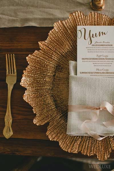 Amazing shot by Wedluxe - Gold Flora Charger Plates Emporium Bride Australia Charger Plates Australia - Follow @Emporiumbride for products to achieve the look Emporium Bride Wedding Decorations supply Australia