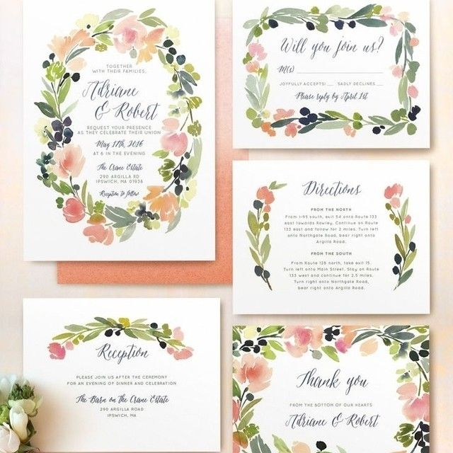 """""""Love, love, love this @minted wedding stationery suite! The watercolor floral design is gorgeous and perfect for Spring! The color combo makes me so…"""""""
