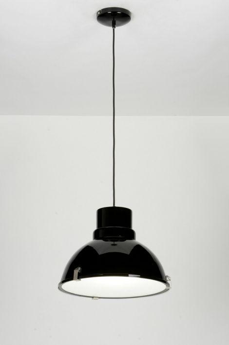 hanglamp 71717: modern, industrie, look, glas, mat glas, metaal, zwart, glans, rond ...