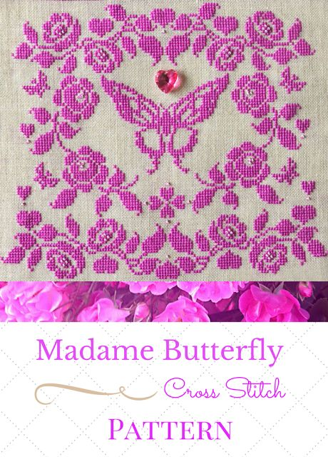 Madame Butterfly Cross Stitch Pattern. Beautiful orchid silk on natural linen.Embroidery French. Handmade. Pink. Pretty. Romantic. Shabby Chic. Decor.