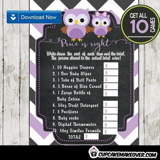 Package of ten printable chevron pattern gray and purple Owl themed games to play at a baby shower! #cupcakemakeover