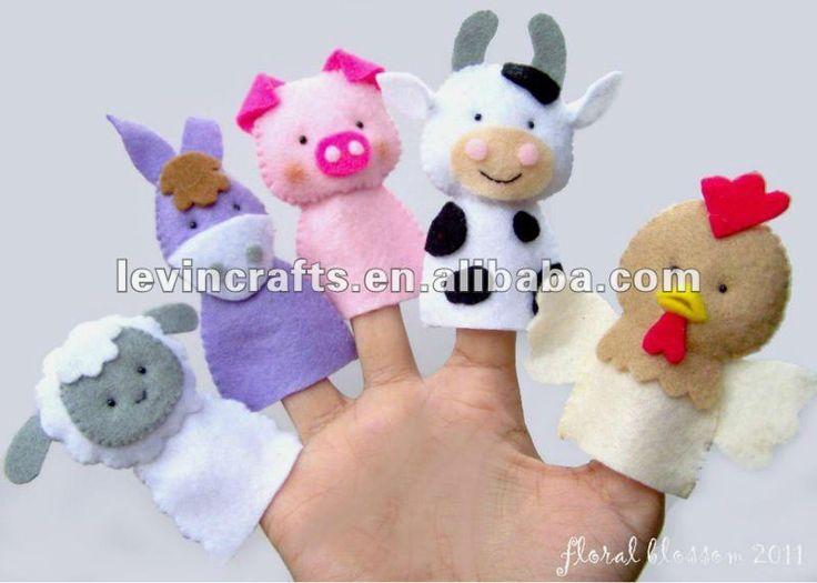 animales encantadores de la cara de fieltro títeres de dedo ...