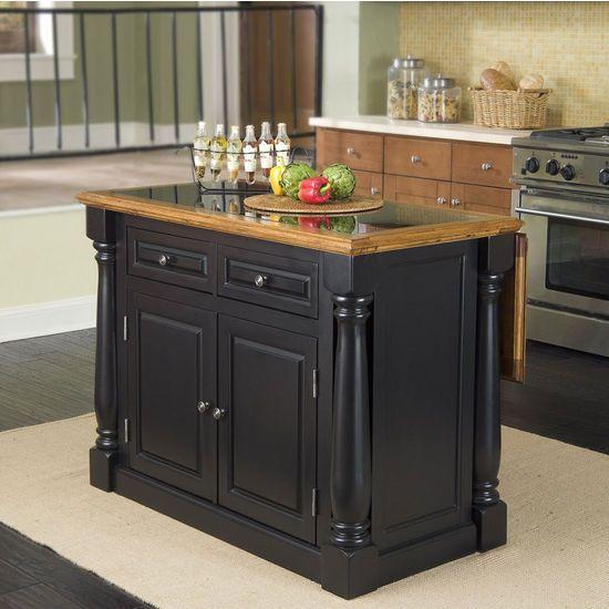 Home Styles Monarch Kitchen Island With Granite Insert Top Black