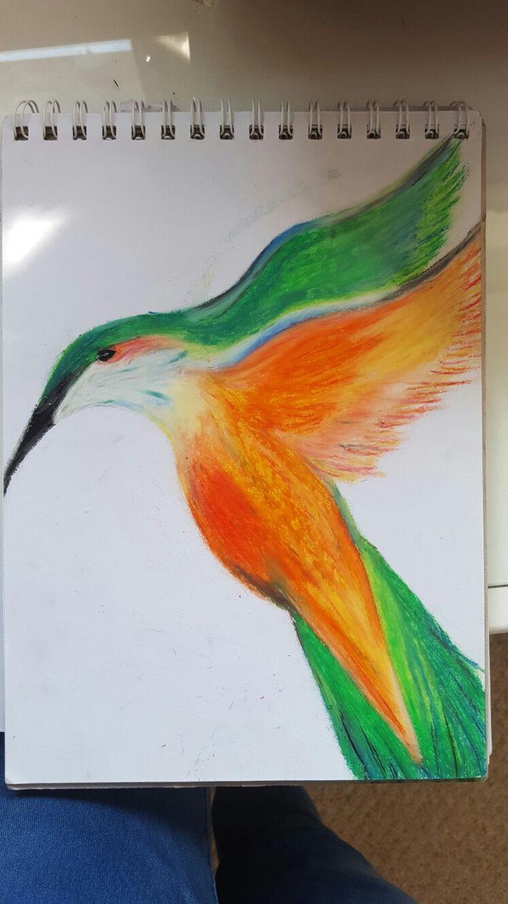 Bird in oil pastel