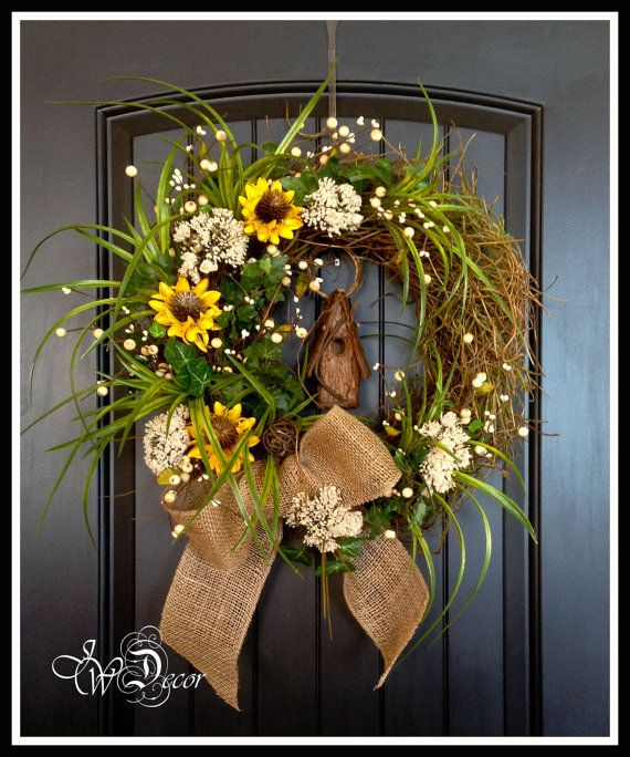 Summer Wreaths Sunflower Rustic Wreaths Burlap Wreath Floral Wreath Wall Wreath Door Wreath Yellow Natural Color