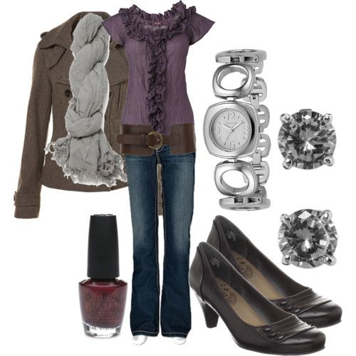 fall: Shoes, Color Combos, Shirts, Jackets, Fall Outfit, Cute Outfit, Belts, Ruffles, Purple Tops