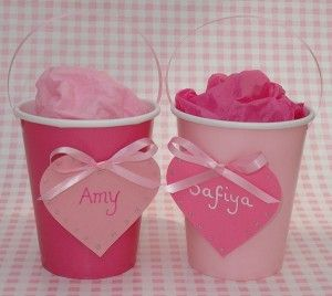 Personalised Pink Heart Gift Cups would make cute wedding favours!